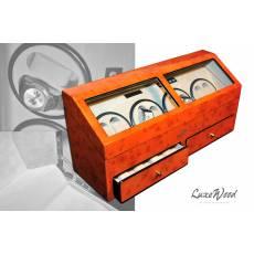 Шкатулка с автоподзаводом для 8-ми часов с выдвижным ящиком для хранения драгоценностей LuxeWood LW644-11