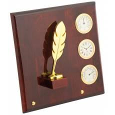 "Плакетка ""Перо"" часы, термометр, гигрометр Linea del Tempo P03GBR"