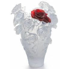 """Ваза для цветов белая с красной розой """"Roses"""" Daum 05106"""