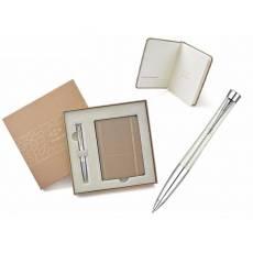 Подарочный набор: Шариковая ручка Parker Urban Premium K204 Pearl Metal Chiselled + блокнот 1935008