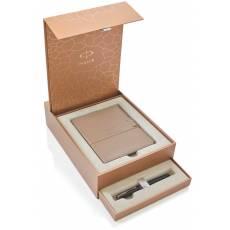 Подарочный набор: Перьевая ручка Parker Sonnet F531 Dark Grey Laquer CT + записная книжка 1935167