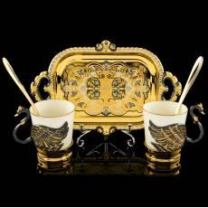 """Набор чайно-кофейный """"Лебеди"""" на 2 персоны Златоуст Авторские работы RV0036435CG"""