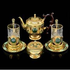 """Чайный сервиз на 2 персоны """"Малахитовый"""" Златоуст RV0036765CG"""