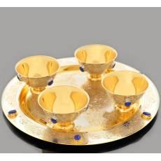 """Набор чайный (блюдо, 4 пиалы) """"Лазурный"""" Златоуст RV0010208CG"""
