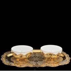 Набор (блюдо, 2 пиалы) Златоуст RV0022172CG