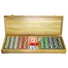 Набор покерный: 500 фишек, две колоды карт и кости в ларце из массива платана RTP-41
