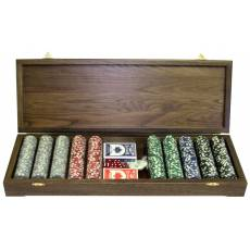 Набор покерный: 500 фишек, две колоды карт и кости в ларце из массива мореного дуба RTP-51.m