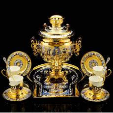 """Набор чайный с самоваром """"Лазуритовый"""" на 4 персоны Златоуст RV0050487CG"""