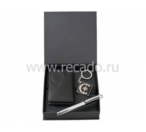 Набор: футляр для визиток и кредитных карт, ручка роллер, брелок с флеш-картой USB 2.0 на 4 Гб   56400