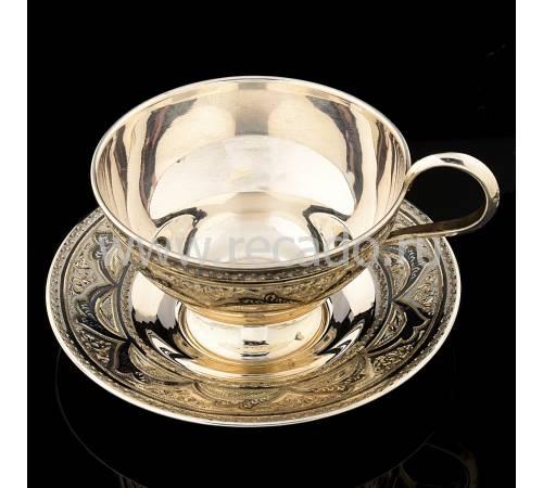 Чайная пара. Серебро 875, гравировка, чернение RV0048075CG