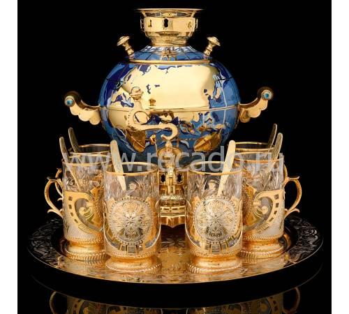 """Чайный набор с самоваром """"Глобус"""" Златоуст RV2357CG"""